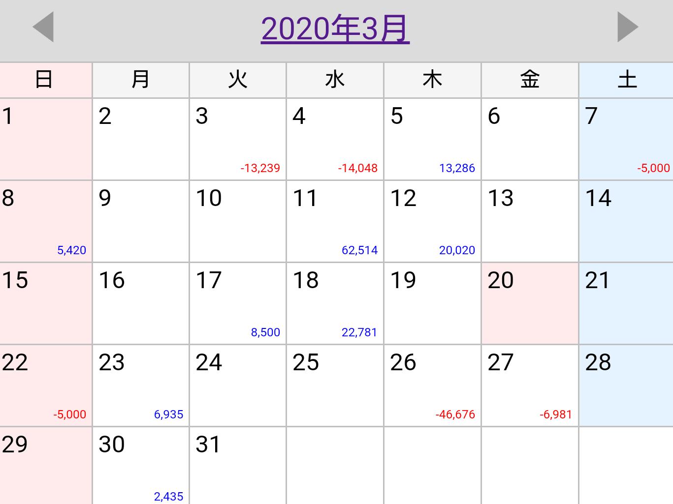 2020年3月日別収支管理表