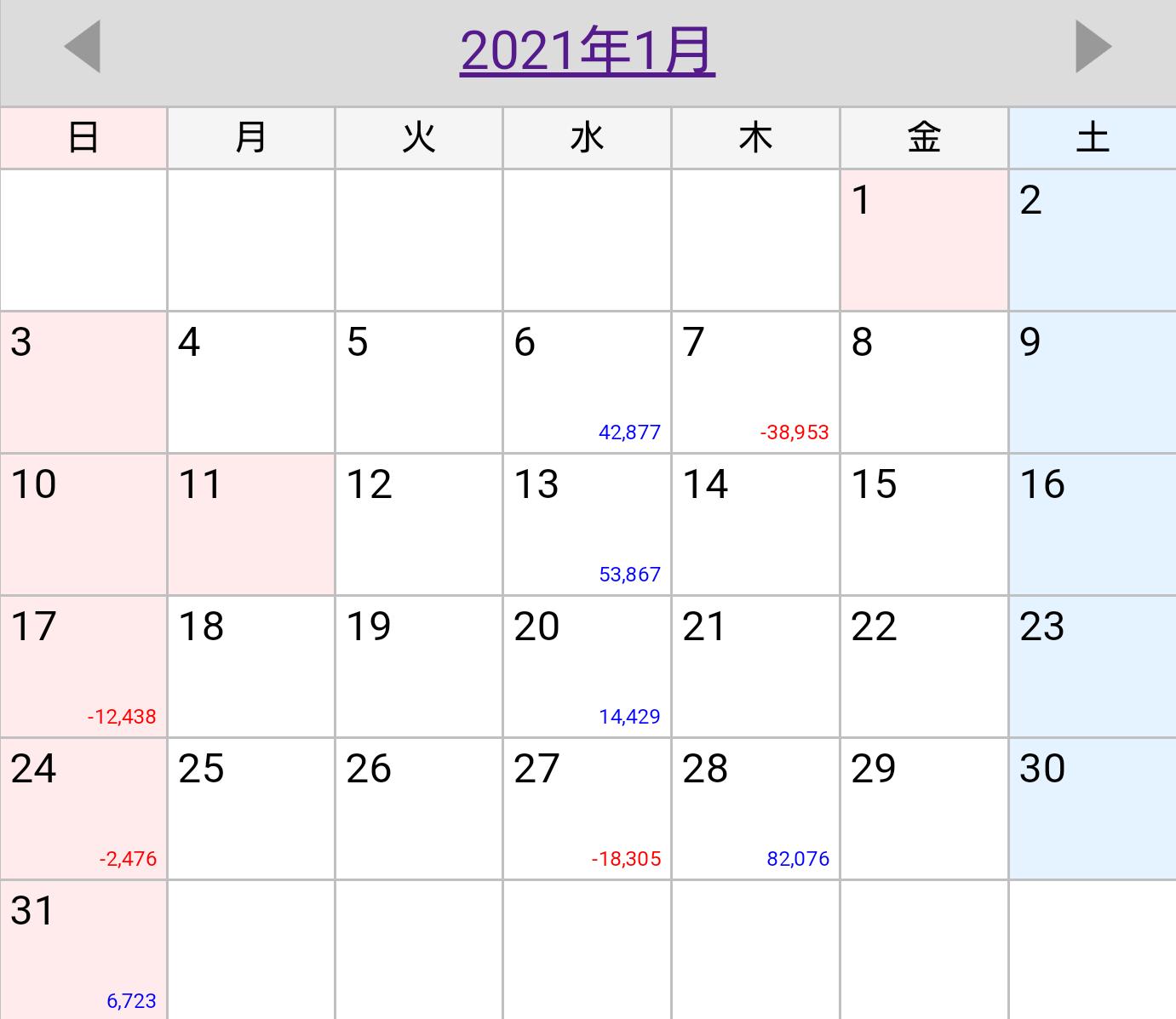 2021年1月稼働カレンダー