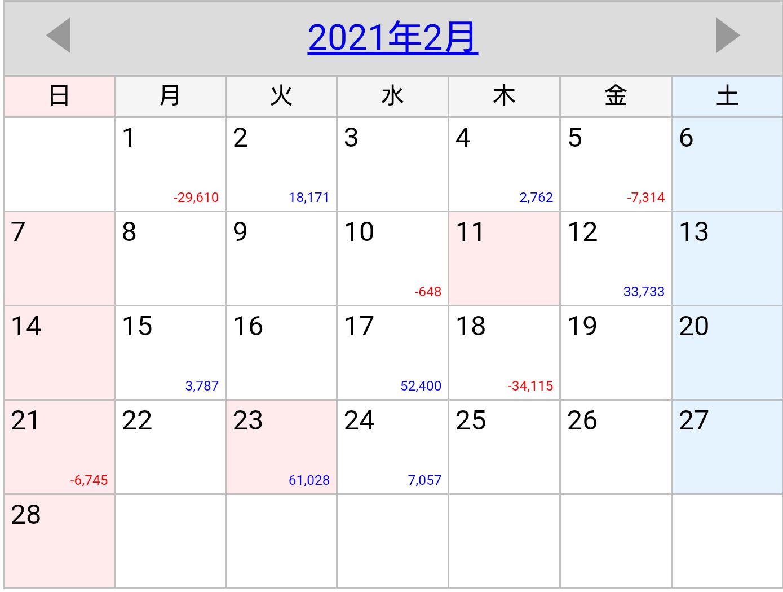 2021年2月稼働カレンダー