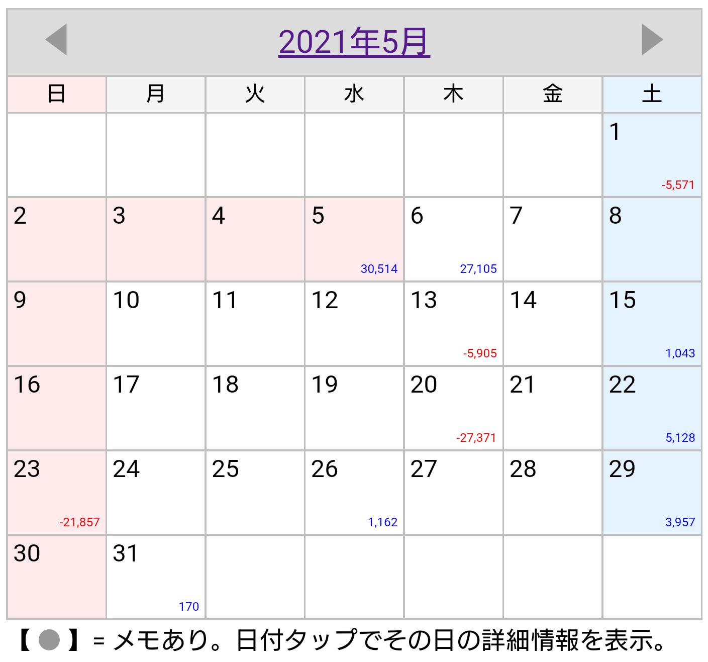 2021年5月稼働カレンダー